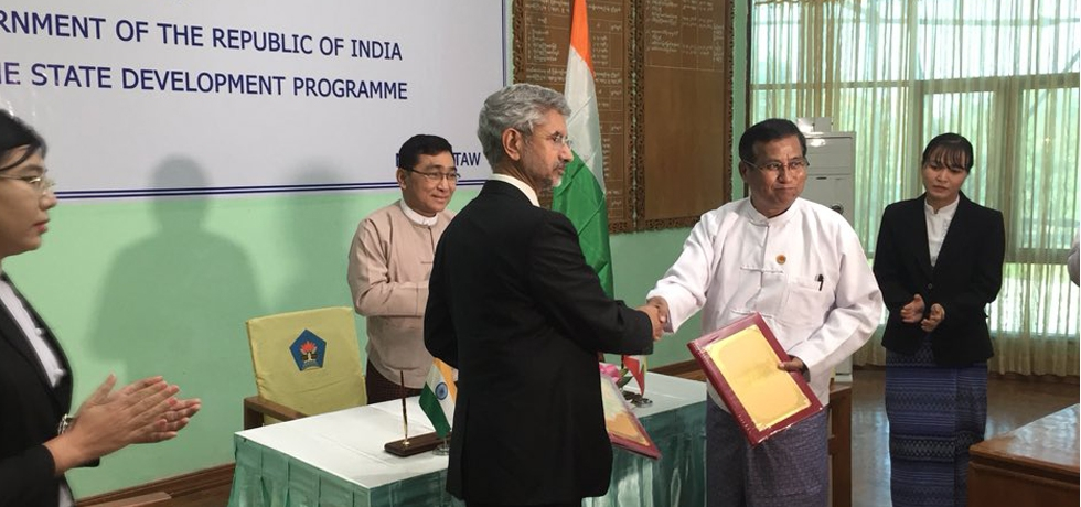 Foreign Secretary of India S. Jaishankar and Myanmar Deputy Minister for Social Welfare, Relief and Resettlement U Soe Aung signed the bilateral MOU on Rakhine State Development Programme.