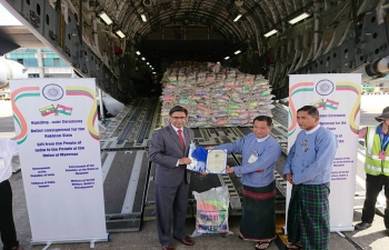 Handing-over ceremony of humanitarian relief cargo for the people of the Rakhine State