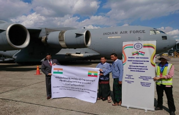 A Handing-over ceremony of humanitarian relief cargo for the people of the Rakhine State held at the Yangon International Airport on 24 November 2017. H.E.Vikram Misri, Ambassador of India to Myanmar, handing over the relief cargo to officials from the Ministry of Social Welfare, Relief and Resettlement.