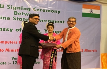 Signing of MOUs by Embassy of India Yangon with the Rakhine State Government on capacity building and economic development in Rakhine State