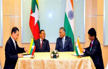 Mr. VK Singh, Minister of State for External Affairs of India, and U Wunna Maung Lwin, Minister for Foreign Affairs, witnessed the signing of the agreement to Set-up India, Myanmar Software Development and Training Centre